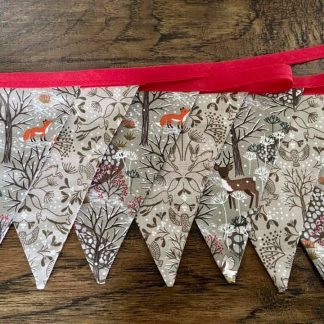 Seasonal Christmas Bunting. Seven double sided cotton flags .