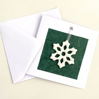 Festive Gift Card with Fused glass Tree Decoration