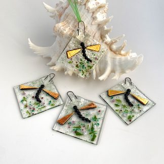 Fused Glass Dragonfly hanger with golden wings