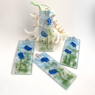 Fused glass suncatcher with bluebells