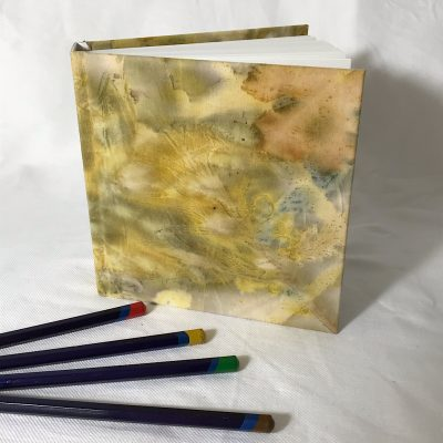 Yellow covered sketch book