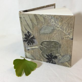 Botanically printed linen covered sketchbook
