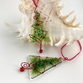 Green and red fused glass Christmas decorations