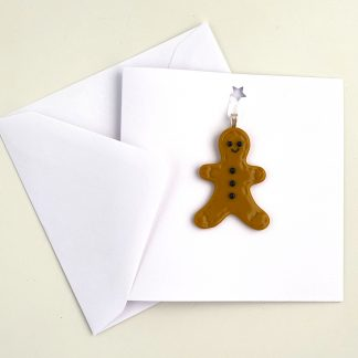 Festive Card with Fused Glass Gingerbread Man Decoration