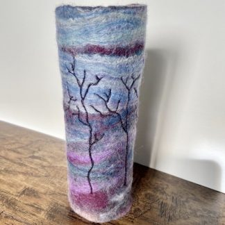 Shows 'Winter Landscape' felt vase wrap.