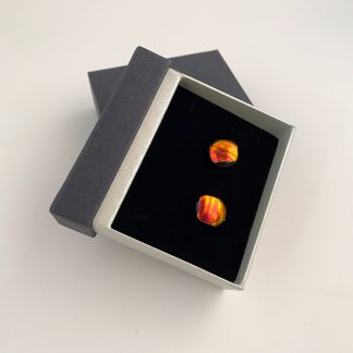 Red Dichroic Glass Cufflinks