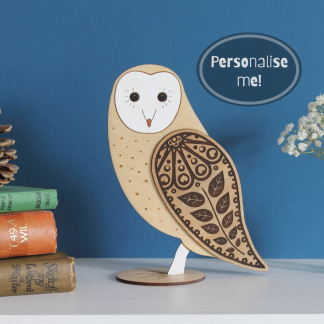 standing wooden barn owl handpainted etchable laser design