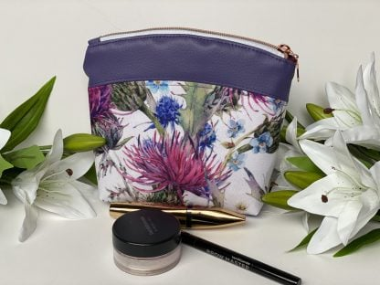 Make up pouch in waterproof canvas and faux leather