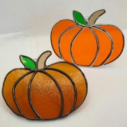 Amber and orange stained glass pumpkins
