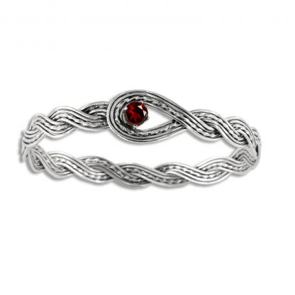 Sterling Silver Woven Looped Bangle with Garnet