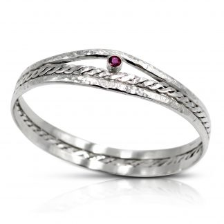 Sterling Silver Woven Bangle with Ruby