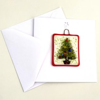 Festive Card with Fused Glass Tree Decoration