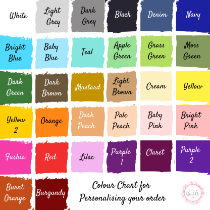 With a quill and a stitch - colour chart