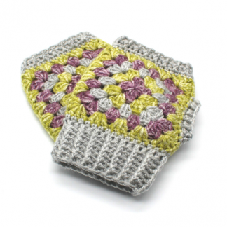crocheted wrist warmers in lime green, purple and grey