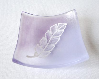 Fused glass feather bowl, handpainted on violet purple blended glass