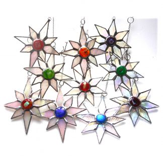 Dichroic christmas stars suncatcher stained glass