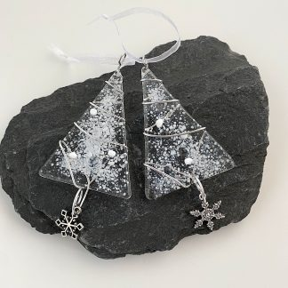 White and silver Christmas tree decoration