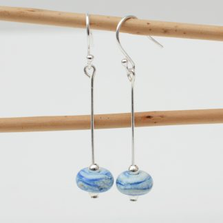 Blue & ivory lamp work bead drop earrings