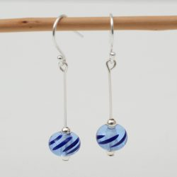 Transparent blue and navy lamp work bead earrings