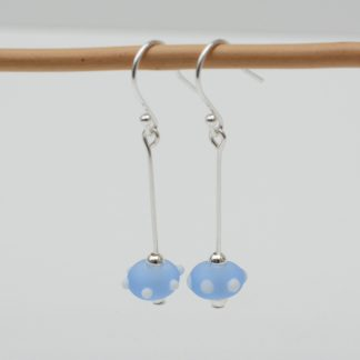 Frosted blue bead earrings with white spots