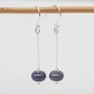 Purple/blue lamp work bead drop earrings