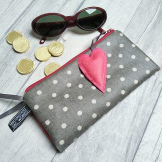Grey polka dot wallet with wrist strap