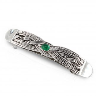 Sterling Silver Woven Celtic Hair Barrette with Emerald