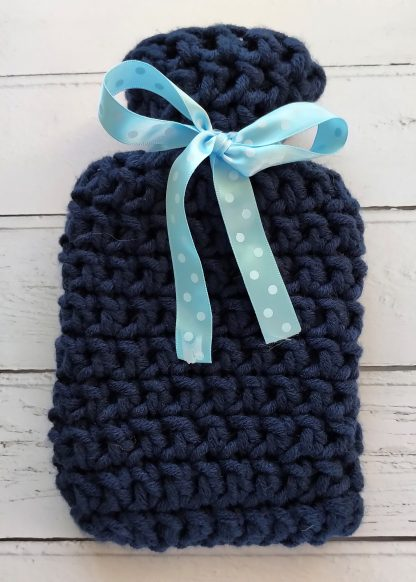 handknitted mini hot water bottle cover