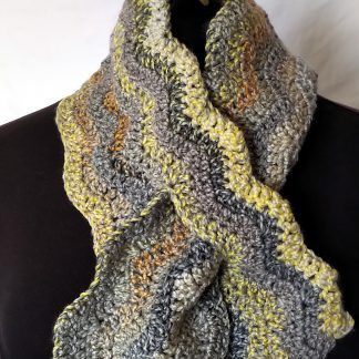 crochet keyhole scarf grey yellow orange