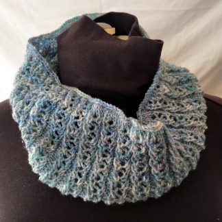 Handknitted cowl scarf blues