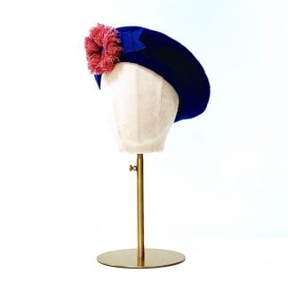 Royal blue beret hat - model head