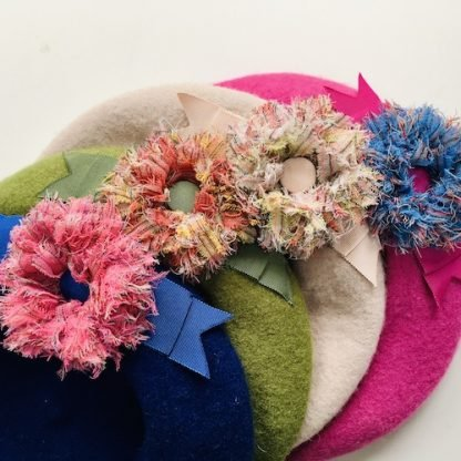Berets with Lochcarron tartan flowers selection 2