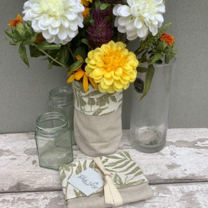 Leaves cotton fabric vase