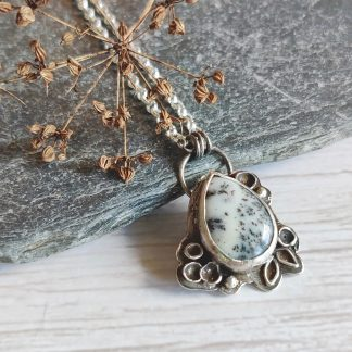 Sterling silver botanical necklace with dendrite by Thistledown Wishes