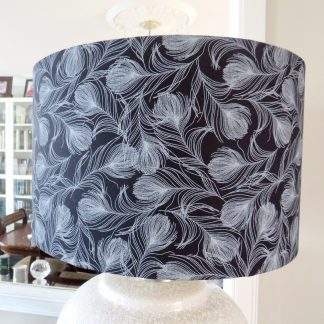 Black feather drum lampshade