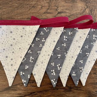 Christmas Stars and Berries, double sided cotton bunting