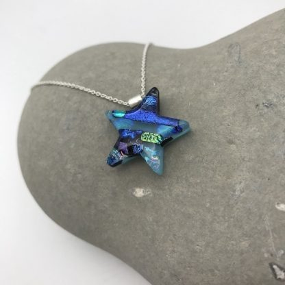 Blue dichroic glass star necklace