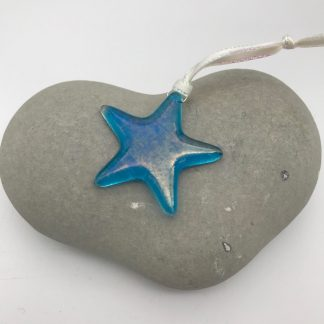 Turquoise iridescent glass star decoration