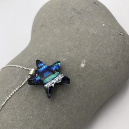 Blue / silver mosaic dichroic glass star necklace
