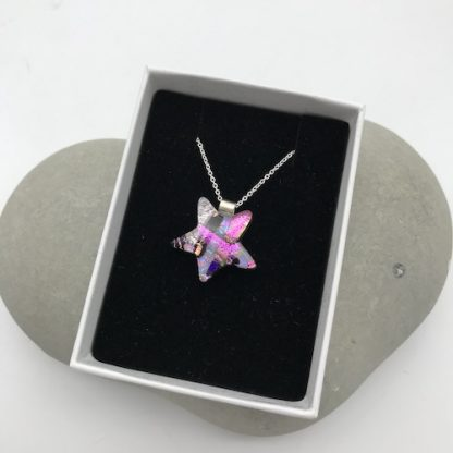 Pink mosaic dichroic glass star necklace