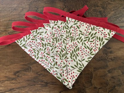 Christmas Red Berries Bunting in Double sided Cotton