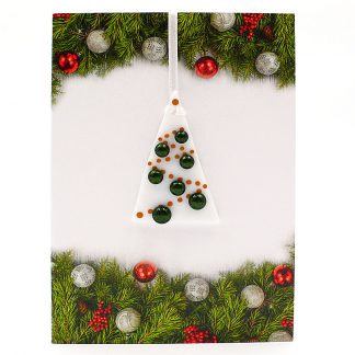 Christmas card with gift - sparkly green and white fused glass tree decoration