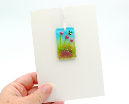 Fused glass greeting card with gift - pink flowers light catcher - with bee