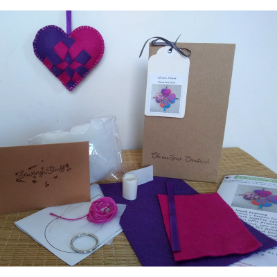 Woven heart keyring craft kit showing contents of kit and end product by Oh Sew Creative