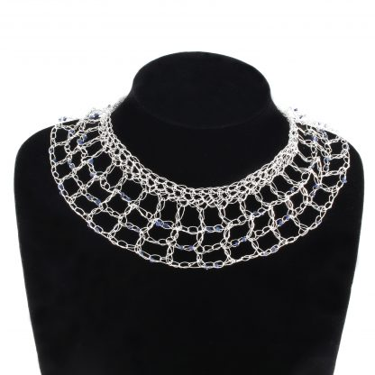 Crocheted Sterling Silver Lattice Choker Necklace with Blue Sapphires