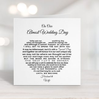 Our Almost Wedding Day Cancelled Wedding Card to Bride Groom