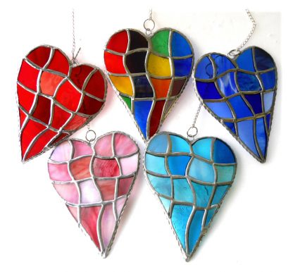 Patchwork suncatcher heart stained glass colour choice