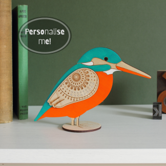 wooden standing kingfisher hand painted etchablelaserdesign