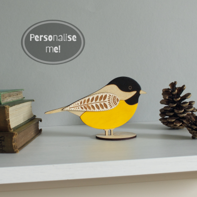 wooden standing coal tit hand painted etchablelaserdesign