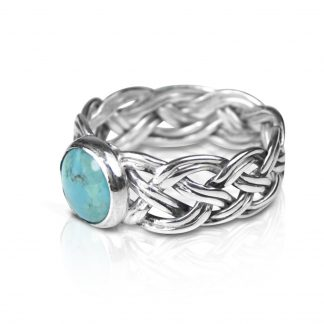 Sterling Silver Woven Ring with Turquoise